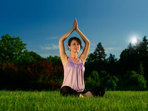 Yoga exercise (Sahasrara padmasana) Stock Photography