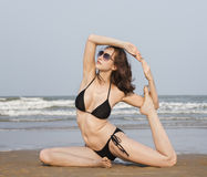 Yoga Exercise Stretching Meditation Concentration Summer Concept Stock Photography