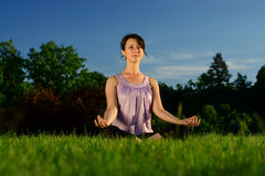Yoga exercise (Sukhasana) Royalty Free Stock Photo