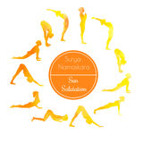 Yoga exercise Sun salutation Stock Photos