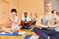 Yoga exercise at wellness center Stock Image