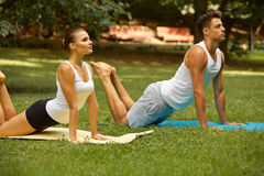 Yoga Exercise. Young couple meditating in Summer Park Royalty Free Stock Photo