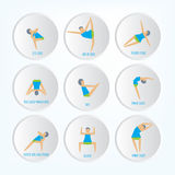 Yoga exercises. Cartoon yoga icon set good for yoga class, center, studio, poster and other design. Stock Image