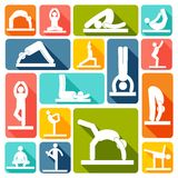 Yoga exercises icons flat Royalty Free Stock Photo