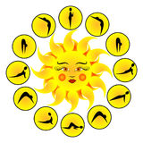 Yoga exercises Sun Salutation Surya Namaskara. Royalty Free Stock Photography