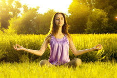 Yoga exercising (Sukhasana) Royalty Free Stock Photo