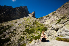 Yoga exercising in Tatry mountains Royalty Free Stock Photo