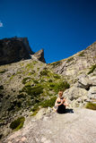Yoga exercising in Tatry mountains Stock Images