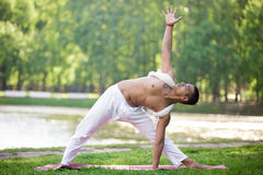 Yoga Extended Triangle pose Stock Photography