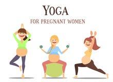 Yoga för gravid kvinnauppsättning Molodye flickor som är involverade i sportar och kondition vektor illustrationer