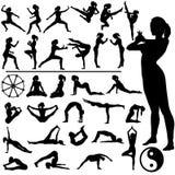 yoga för kvinnor för konstkondition krigs- vektor illustrationer