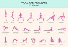 Yoga för nybörjare poserar pinnediagramet uppsättning Arkivbilder