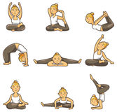 yoga för tecknad filmflickasymbol stock illustrationer