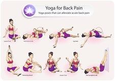 Yoga för tillbaka smärtar royaltyfri illustrationer
