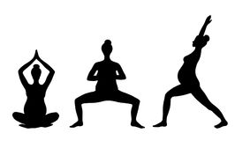 Yoga für schwangere Frauen Satz Yogahaltungen für schwangere Frauen Asanas für schwangere Frauen Schwarze Vektorschattenbilder vo Stockfoto