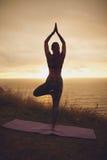 Yoga facente femminile di posa dell'albero sulla scogliera Fotografia Stock
