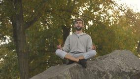 Yoga facente maschio all'aperto, posa del loto, meditante in selvaggio, nell'armonia e nell'equilibrio stock footage