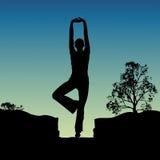 Yoga facente umana Immagini Stock