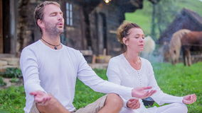 Yoga on the farms backyard stock video