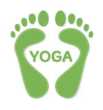 Yoga feet. Yoga design, Bare human footsteps Royalty Free Stock Photo