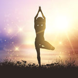 Yoga female against a sunset sky Royalty Free Stock Photos