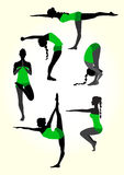 Yoga female silhouette. Vector illustration of a yoga silhouettes Stock Image