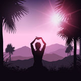Yoga female in tropical landscape Royalty Free Stock Image