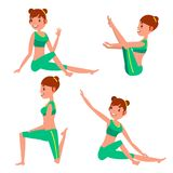 Yoga Female Vector. In Action. Meditation Positions. Flexible Girl. Cartoon Character Illustration. Yoga Female Vector. Stretching And Twisting. Practicing Stock Illustration