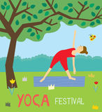 Yoga festival background with the girl and nature Stock Images