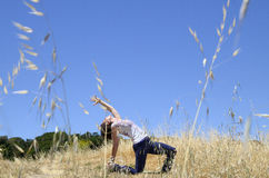 Yoga in a field Stock Photography