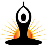 Yoga figure with sun logo Royalty Free Stock Images