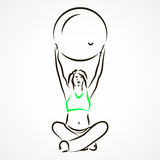 Yoga with fitball Royalty Free Stock Images