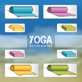 Yoga, fitness accessories.  EPS,JPG. Yoga mats and bricks in blue, violet, yellow, green colors. Yoga, fitness accessories. Yoga, fitness studio. Varicolored Royalty Free Stock Photos