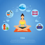 Yoga and Fitness Concept. With Flat Icons apple, player, Dambbells and mat. vector illustration vector illustration