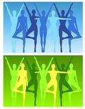 Yoga Fitness Female Backgrounds. An illustration featuring a row of slim women blue and green tones with various poses to represent yoga, fitness, dancing, etc Royalty Free Stock Images