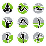 Yoga fitness icons Royalty Free Stock Photo