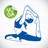 Yoga Fitness Model Illustration. With Sticker Royalty Free Stock Photography