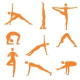 Yoga fitness orange icons Stock Images