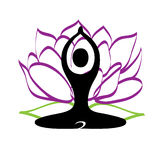 Yoga fitness relaxation. Yoga figure with lotus plant meditation stock illustration