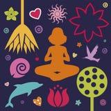Yoga fjädrar samlingen Arkivfoto