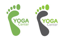 Yoga footsteps. Green footsteps. Bare feet. Yoga designer's template Stock Images