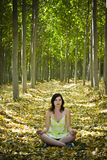 Yoga in forest Stock Photography