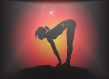 Yoga Forward Fold With Lift Pose Glare Background Royalty Free Stock Photos