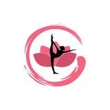 Yoga-Frauen-Schattenbild, Lotus Flower mit Zen Logo Design Stockfotografie