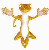 Yoga gecko toon Royalty Free Stock Photo