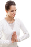 Yoga gesture namaste Stock Photos