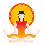 Yoga girl. In orange color - vector illlustration Stock Photo