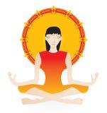 Yoga girl. In orange color - vector illlustration royalty free illustration