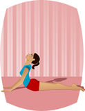 Yoga Girl. Girl doing yoga (Bhujangasana or Cobra Pose Royalty Free Stock Photos