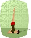 Yoga Girl. Girl doing yoga (Sarvangasana or Shoulderstand vector illustration